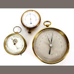Two aneroid barometers and a Haarhygrometer,  early 20th century,
