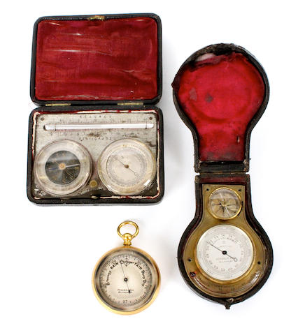 Three cased aneroid barometers and thermometers,  circa 1900,  (3)