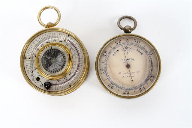A West pocket barometer and a Steppacher pocket weather compendium,  circa 1900,  (2)