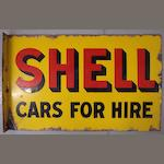 A good 'Shell - Cars For Hire' double sided enamel sign, 1925,