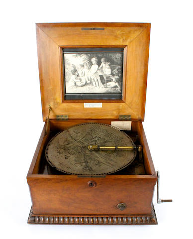 A Symphonion 13.1/4-inch disc musical box, Style 60, circa 1885,