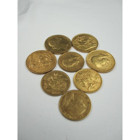 A Queen Victoria sovereign, 1884, and three George V sovereigns 1913 x 2 and 1914, two Queen Victorian half sovereigns, 1893, and 1900 and two George V half sovereigns 1911 and 1912. (8)