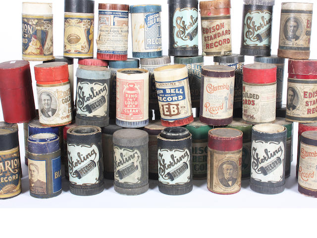 A miscellaneous collection of approximately forty phonograph cylinders, qty