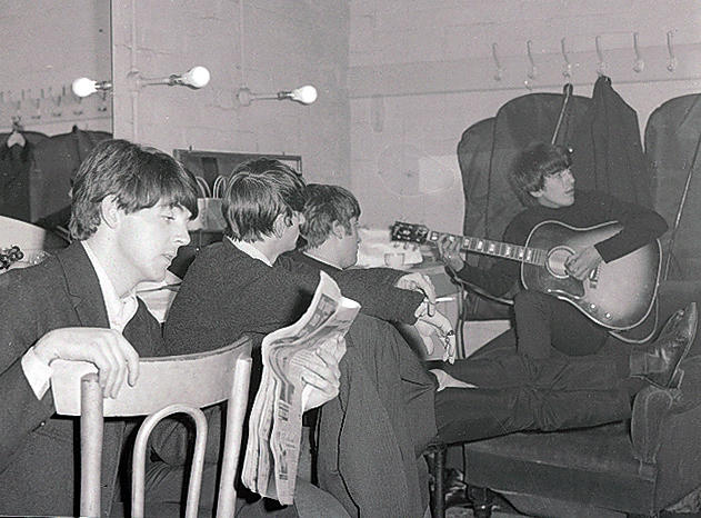 Photographs of the Beatles backstage at the Gaumont, Doncaster, 10th December 1963,