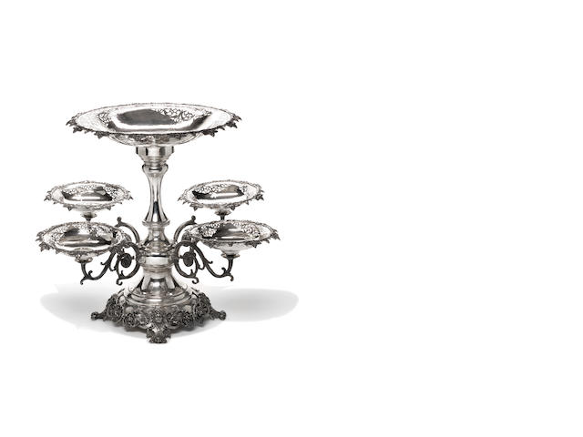 A large and impressive modern Continental metalware epergne or table centrepiece