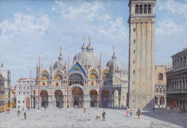 Antonietta Brandeis (Czechoslovakian, 1849-1910) Piazza St Marco, Venice; Palazzo Labia, Venice
