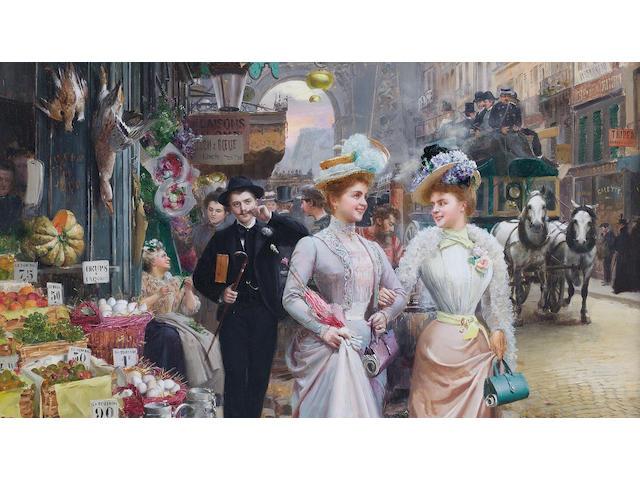 Basile Lemeunier (French, 1852-1922) Parisian street scene