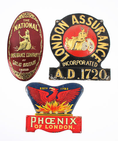 Three tin firemarks: