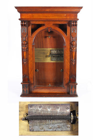 A coin-operated Polyphon 15.1/2-inch  upright disc musical box, late 19th century with a later modification,