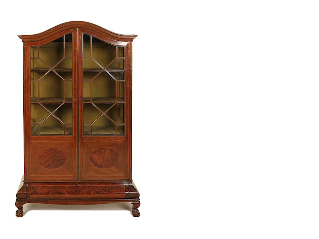 An Edwardian mahogany and thuya display cabinet