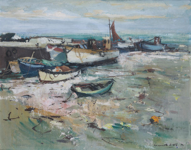 Kenneth Webb (Irish, born 1927) Harbour scene 41 x 51 cm. (16 x 20 in.)