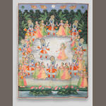 A picchvai depicting the gopis dancing Rajasthan, mid-19th Century