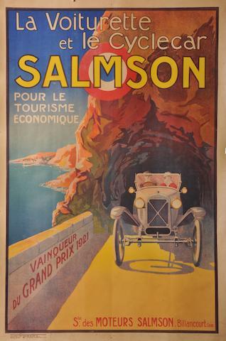 Affiche « Salmson Vainqueur du Grand Prix des Cyclecars 1921 »