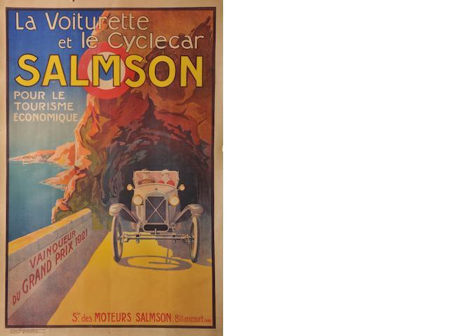 A Salmson 'Vainquer Du Grand Prix 1921' poster,