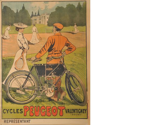 A Peugeot motorcycles poster after Thelea,