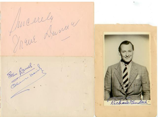 A collection of autographs, including Laurel and Hardy, 6 items