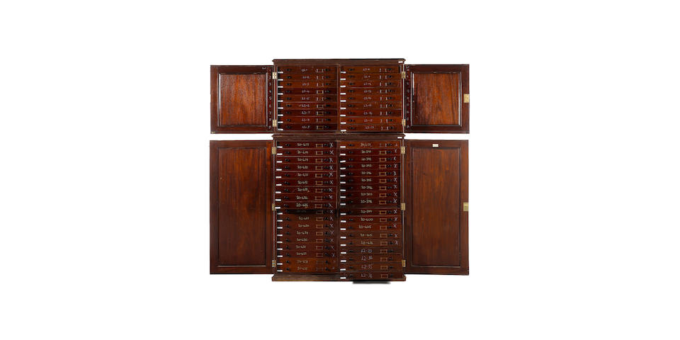 A Victorian mahogany collectors cabinet                                 made by J. J. Hill & Son
