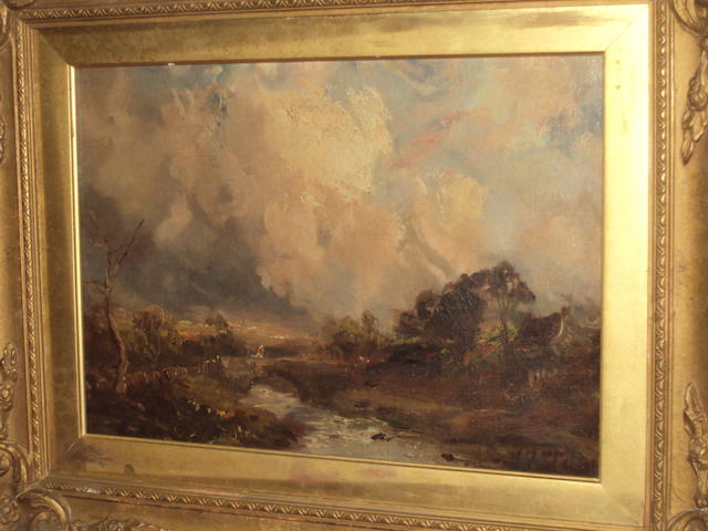 John Falconar Slater (British, 1857-1937) Moorland stream with figure crossing a bridge
