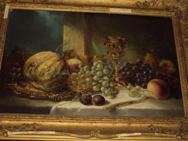 Circle of Edward Ladell (British, 1821-1886) Still life of fruit
