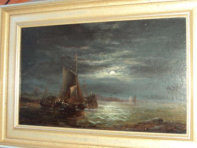 Attributed to William Thornley (British, 1857-1898) Moonlit coastal scene with fisherfolk