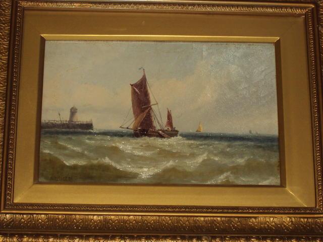 M. M. Jacobi (British, active 1882-1883) Sailing barge entering a harbour