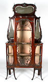 An Edwardian, Art Nouveau style,  mahogany  display cabinet