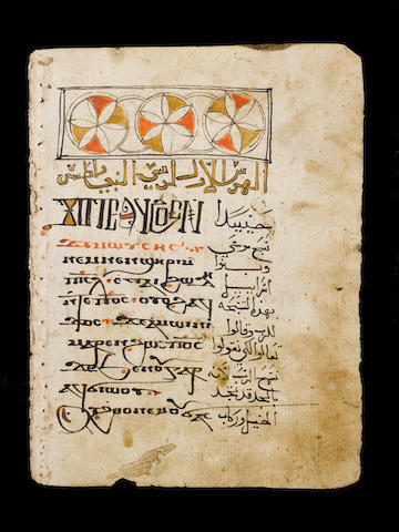 A group of Christian manuscript leaves in Arabic