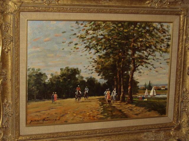 John Horwood (British, later 20th century)  'Near Windsor - Horse Riding'