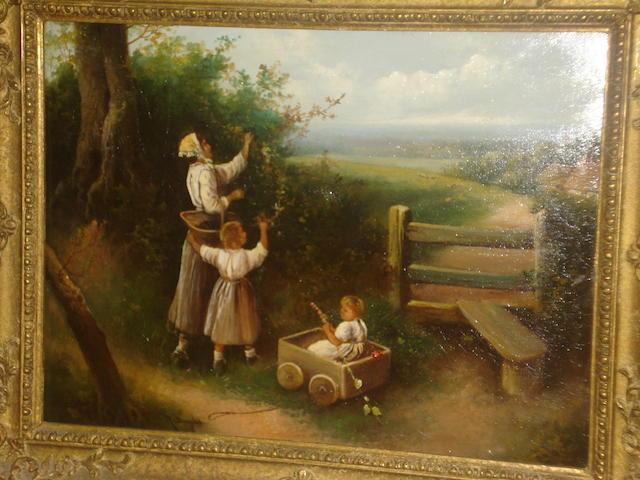 R. Douglas (British, active circa 1900) Blackberry pickers,