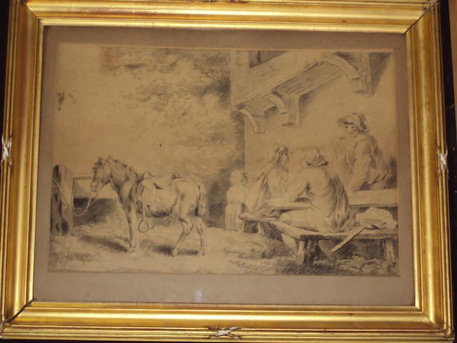 Follower of George Morland (British, 1763-1804) Figures conversing seated by an inn, with a donkey tied to a post beside