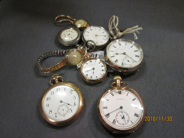 Waltham: A rolled gold open faced pocket watch,  (8)
