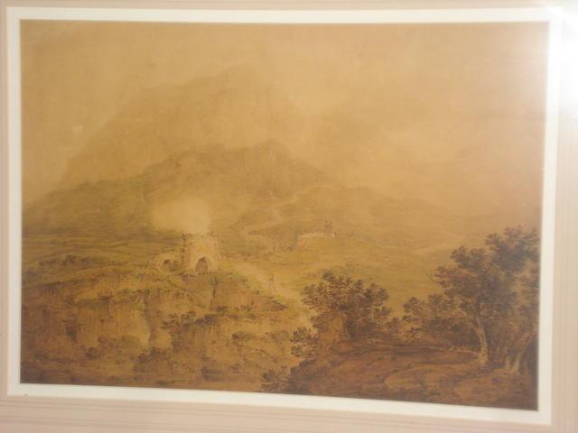 Circle of Francis Nicholson (British, 1753-1844) 'Lime kilns, North Wales'