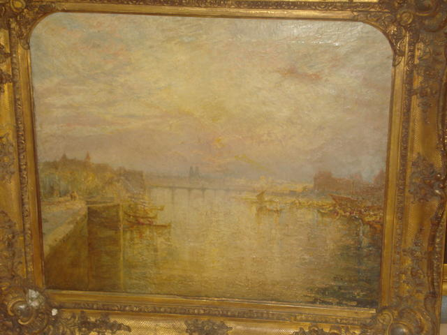 Circle of Joseph Mallord William Turner, RA (British, 1775-1851) River landscape with bridge and large town, possibly the Seine at Paris,