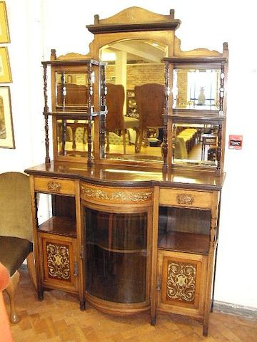 An Edwardian rosewood and inlaid mirror back display cabinet