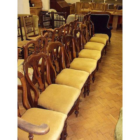 A matched set of eight Victorian mahogany dining chairs