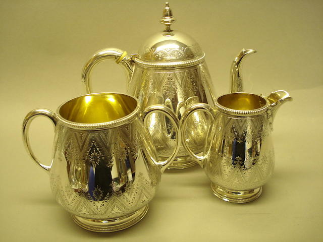 A Victorian 3 piece tea service by Bradbury & Bradbury, London 1875
