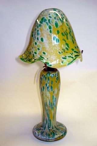 A glass mushroom lamp Mid 20th century