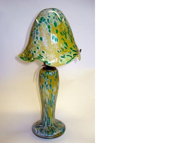 A Monart glass mushroom lamp