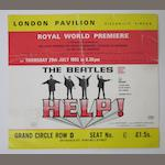 A ticket for the Royal World Premiere of 'Help!' and other items, 1965,