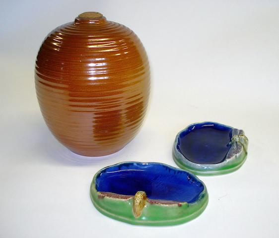Lambeth A pair of Royal Doulton stoneware advertising soap dishes for Wrights Coal Tar Soap, circa 1910