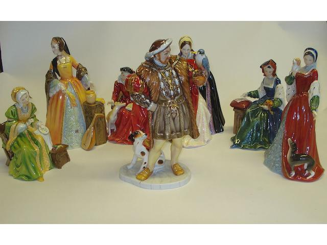 Figurines A limited edition group of Royal Doulton figures of Henry VIII and his wives