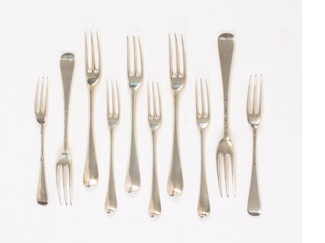 A set of nine Hanoverian three prong forks and six similar dessert forks Table forks by Paul Hanet, London, 1731, dessert forks, by Issac Callard, 1738  (15)