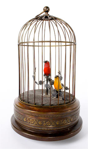 A duet singing birds-in-cage, by Karl Griesbaum, circa 1950,