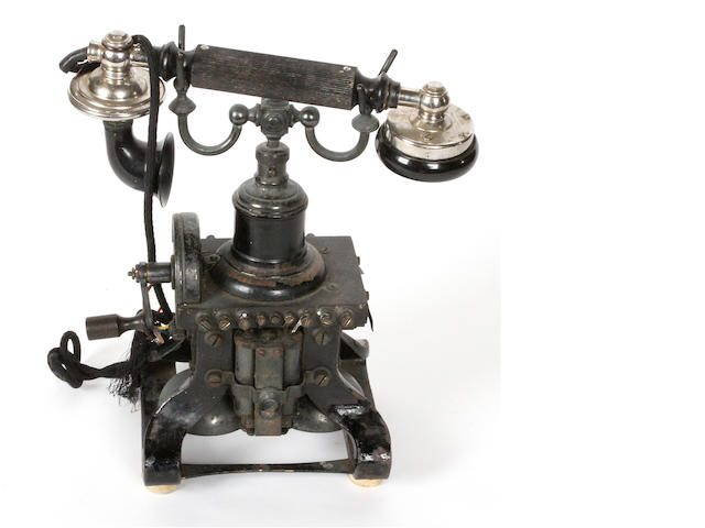 A rare Ericsson 'Effel Tower' skeleton telephone, circa 1895,