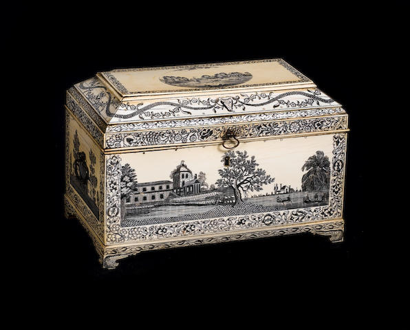 A late 18th century Vizagapatam engraved ivory tea caddy