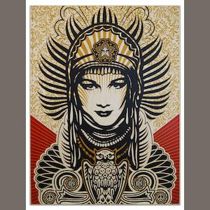Shepard Fairey (American, born 1970) 'Peace Goddess on Wood', 2008
