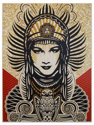 Shepard Fairey (American, born 1970) 'Peace Goddess on Wood', 2008