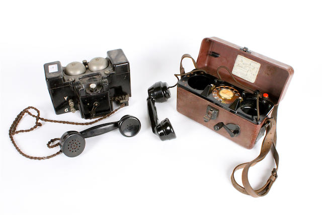 Two magneto 'Trench' telephones,