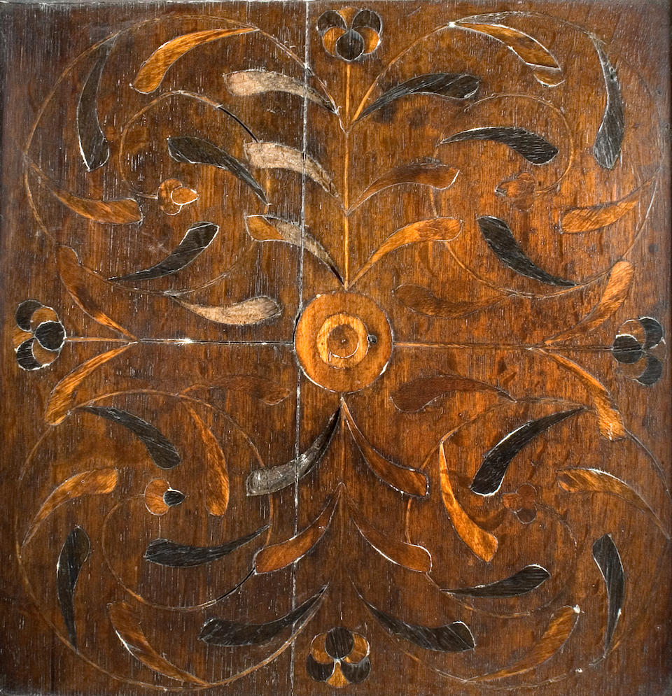 An Elizabethan oak and marquetry inlaid tester bed