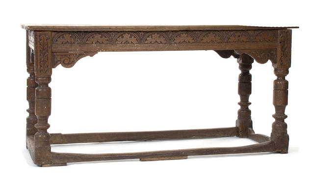 A 17th Century and later oak refectory type table